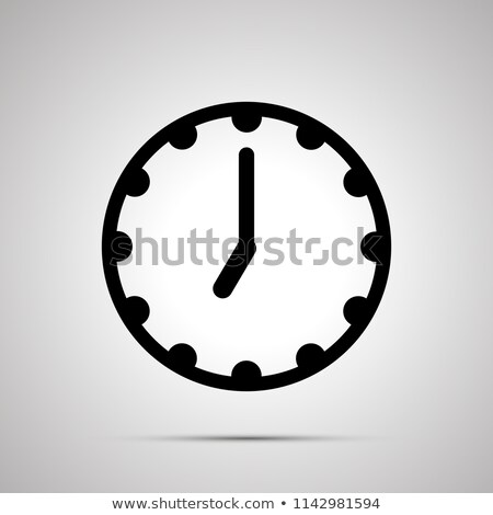 Clock face showing 7-00, simple black icon on white Stock photo © evgeny89