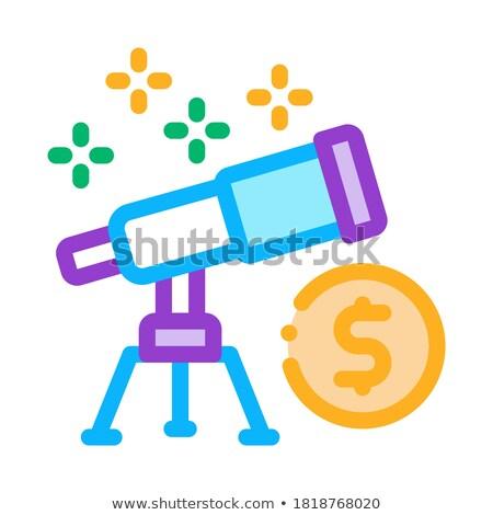 посмотреть телескопом деньги икона вектора Сток-фото © pikepicture