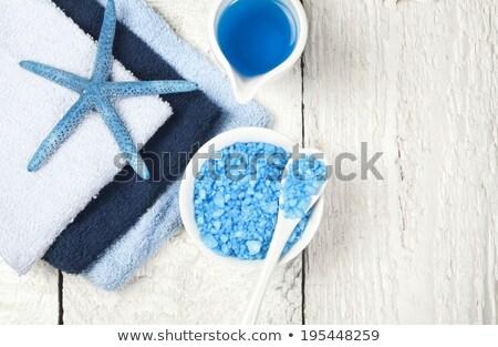 blue bath salt with wooden scoop Stock photo © jirkaejc