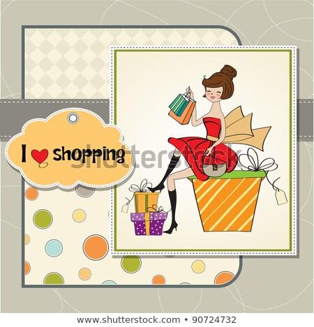 pretty young woman who is happy that she went shopping Stock photo © balasoiu