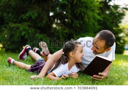 отец · ребенка · дочь · чтение · Библии · молодые - Сток-фото © koca777