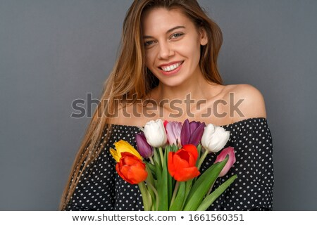 Cute · брюнетка · девушки · Tulip · цветы · молодые - Сток-фото © andersonrise