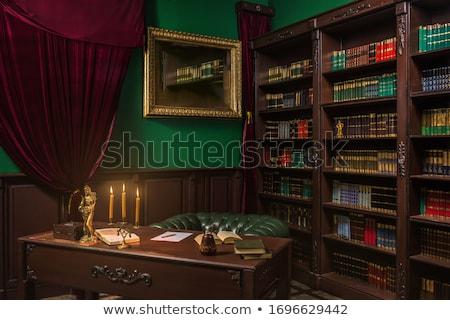 Prateleira de livros gradiente parede casa Foto stock © adamson