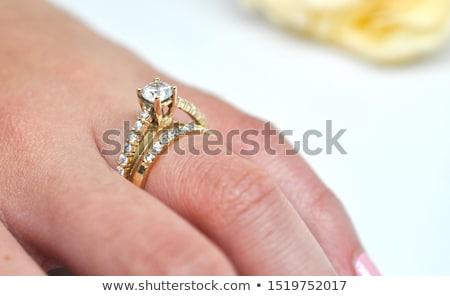 Klasszikus gyűrű szett értékes kövek illusztráció Stock fotó © yurkina