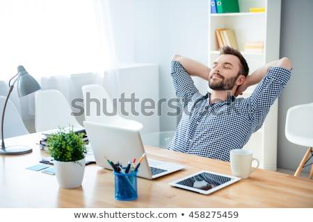 деловой человек перерыва работу расслабиться бизнеса компьютер Сток-фото © sebastiangauert