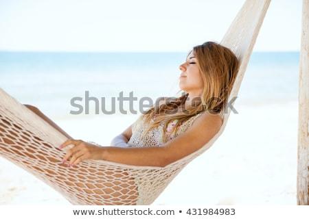 Dość młoda kobieta plaży rurka do nurkowania snorkeling Zdjęcia stock © lightpoet