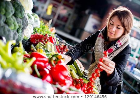 Young woman at the market buying a salad Stock photo © Farina6000