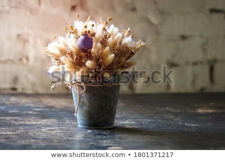 small wooden vase with autumn leaf stock photo © deyangeorgiev