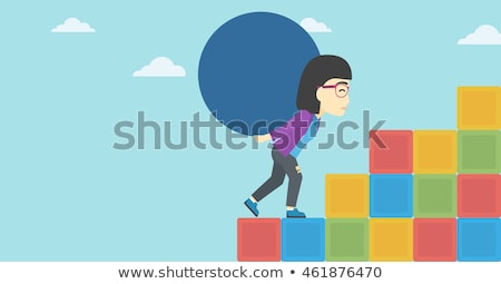 Woman carrying big ball. Stock photo © RAStudio