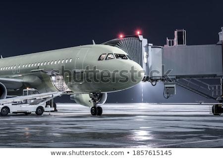 самолета ворот ночь свет аэропорту рабочих Сток-фото © meinzahn
