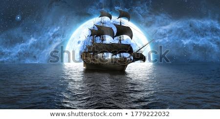 парусного · лодка · бурный · морем · горизонте · темно - Сток-фото © psychoshadow