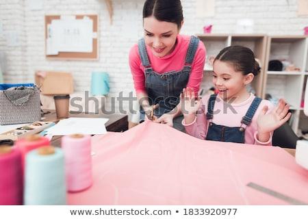 Kid Girl Marking Fabric Stock photo © lenm