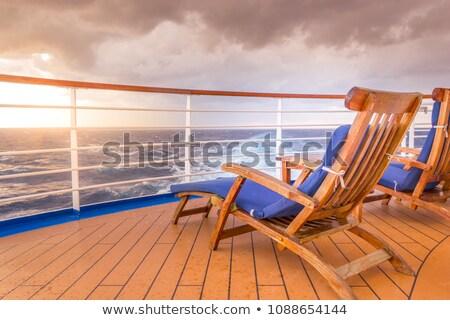 Blau Deck Stuhl Pier Abschluss Holz Stock foto © nito