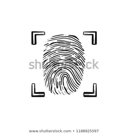 scanned fingerprint in the frame hand drawn outline doodle icon stock photo © rastudio