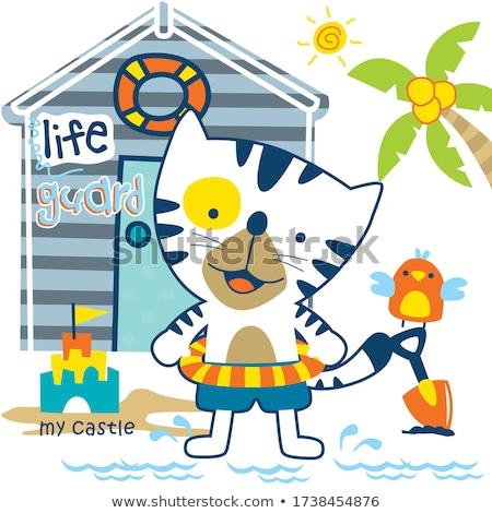 漫画 笑みを浮かべて ライフガード 子猫 幸せ ストックフォト © cthoman