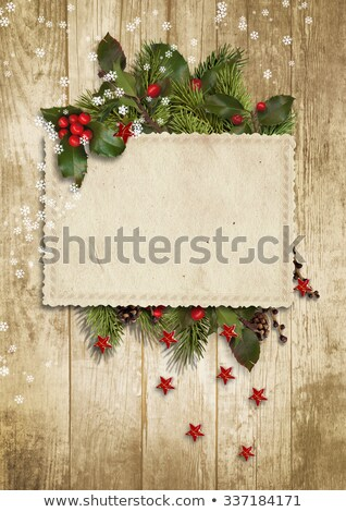 Christmas Postcard With Firtree Border Stock photo © barbaliss