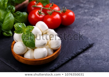 mozzarella · kaas · basilicum · houten · kom · bestanddeel - stockfoto © Lana_M