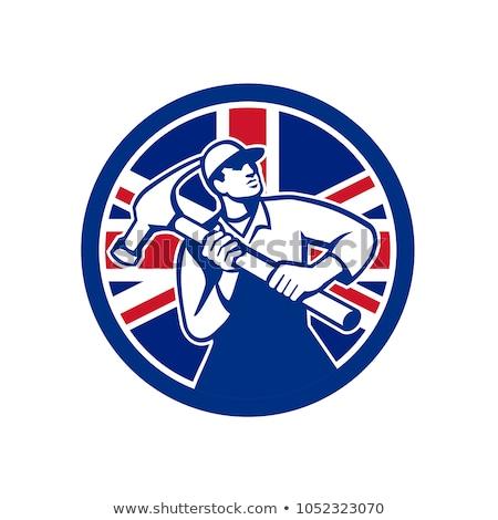 Brit ezermester brit zászló zászló ikon retró stílus Stock fotó © patrimonio