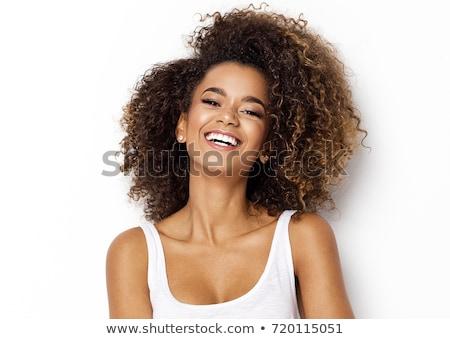 feliz · morena · mulher · cabelos · cacheados · perfeito · sorrir - foto stock © ruslanshramko