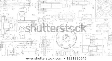 Technischen Zeichnungen blau Business Bau Technologie Stock foto © cookelma
