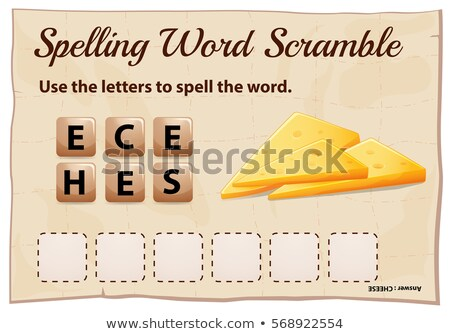 Spelling word scramble game with word cheese Stock photo © colematt