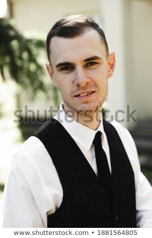 Ritratto felice imprenditore formale suit ridere Foto d'archivio © deandrobot