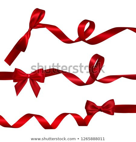 set of realistic red bow with long curled red ribbon element for decoration gifts greetings holid stock photo © olehsvetiukha