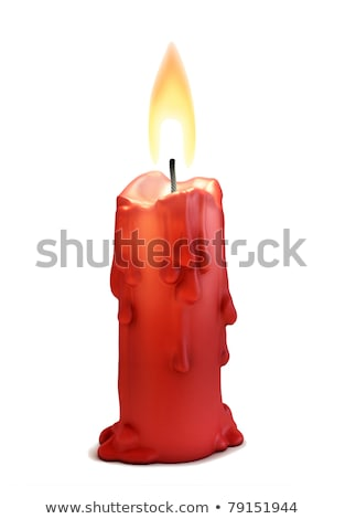 Red Burning Isolated Candle with Fire, Christmas Stock photo © robuart