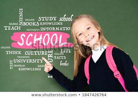 Girl Pointing Educational Symbols On Green Chalkboard Stock photo © AndreyPopov
