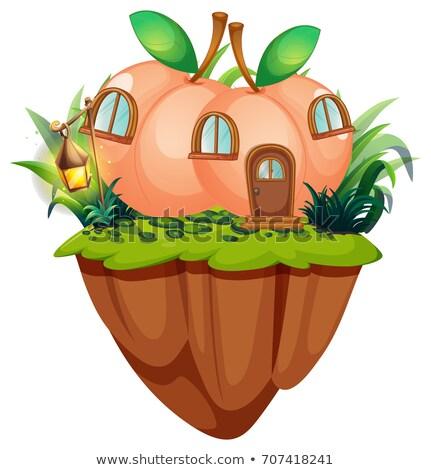 Pêssego casa penhasco ilustração casa fruto Foto stock © colematt