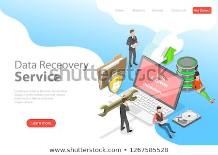 vektor · izometrikus · szerver · felszerlés · adatközpont · sorok - stock fotó © tarikvision