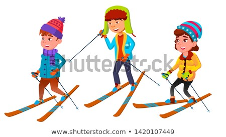 Grupo em pé crianças esquiador vetor Foto stock © pikepicture