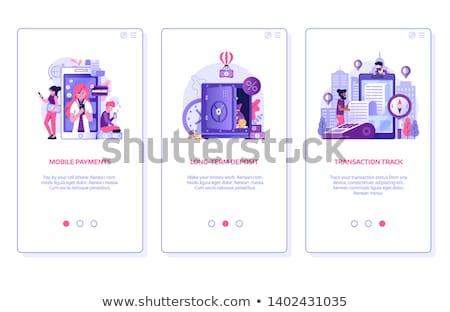 Ligne vecteur mobiles app page écran Photo stock © pikepicture