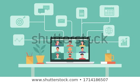 woman with smart home icons on laptop computer Stock photo © dolgachov