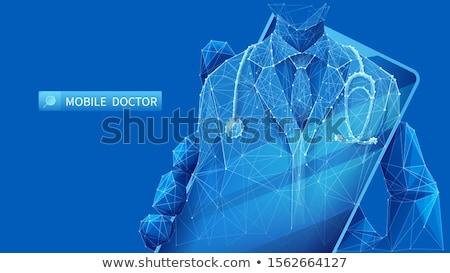 ligne · médecin · homme · vecteur · médicaux · consultation - photo stock © robuart