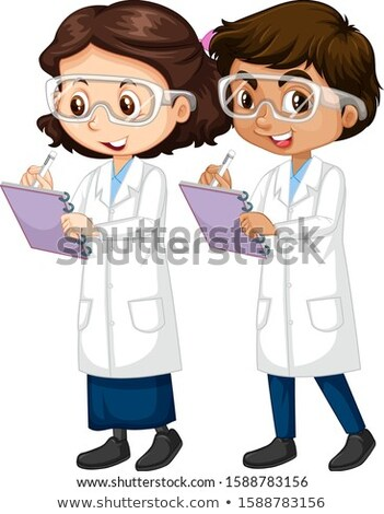 Boy and girl in science gown writing notes Stock photo © bluering