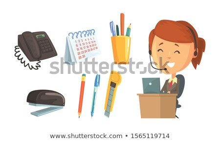 Office desk with supplies and headset Stock photo © karandaev