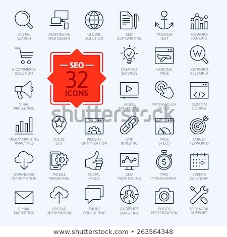 Thin Line Icons Set of Search Engine Optimization Stock photo © smoki