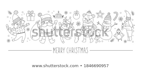 Santa Claus and white hare. Christmas Card stock photo © Ecelop