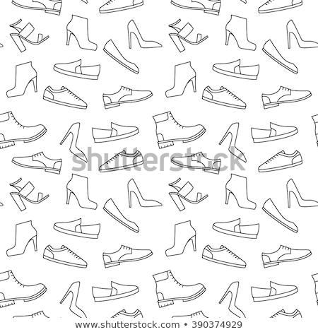 Zapatos patrón verde zapato plan Foto stock © lkeskinen