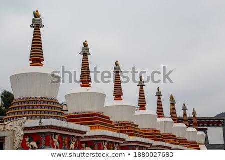 White stupa in a Tibetan lamasery Stock photo © bbbar