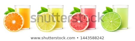 Red Glass with slice of lemon (with path clipping) Stock photo © broker