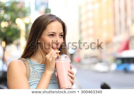 Stok fotoğraf: Attractive Brunette Woman With Fresh Strawberries