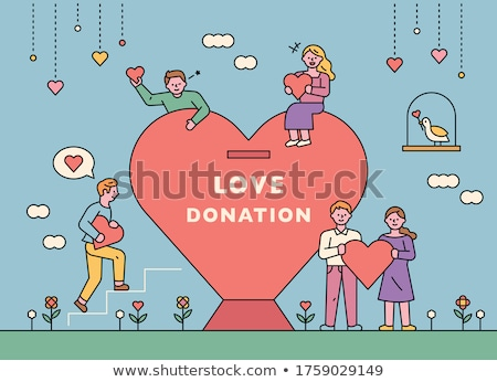 piggy bank with heart and donation text stock photo © melpomene