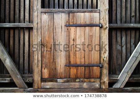 Kahverengi yıpranmış ahşap kapı ahşap panel Stok fotoğraf © rhamm