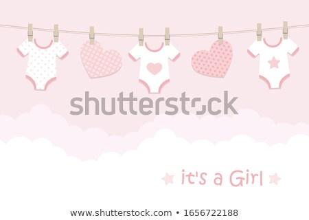 új baba közlemény kártya madár születésnap Stock fotó © balasoiu