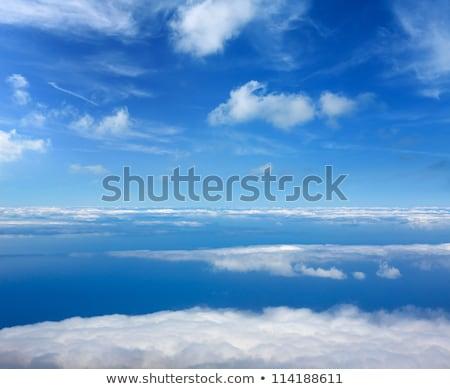 kék · ég · kilátás · repülőgép · repülőgép · fehér · felhők - stock fotó © lunamarina
