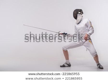 Female fencer laughing Stock photo © bmonteny