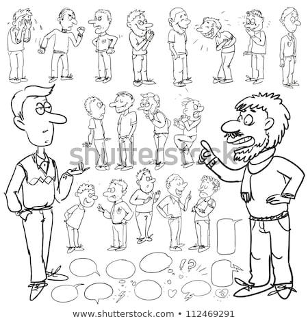 Desenho animado preocupado homem indicação balão de pensamento mão Foto stock © lineartestpilot