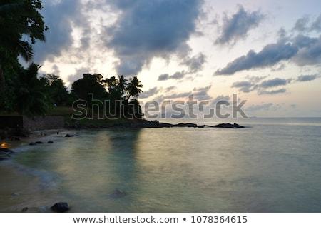 Eiland zonsondergang Seychellen oceaan ruimte Stockfoto © bubutu